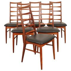 Set of Six Tall Ladder-Back Teak and Leather Dining Chairs by Niels Kofoed