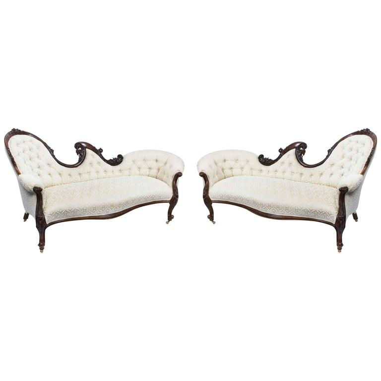 Antique pair of victorian walnut sofa chaise settees for Art nouveau chaise lounge