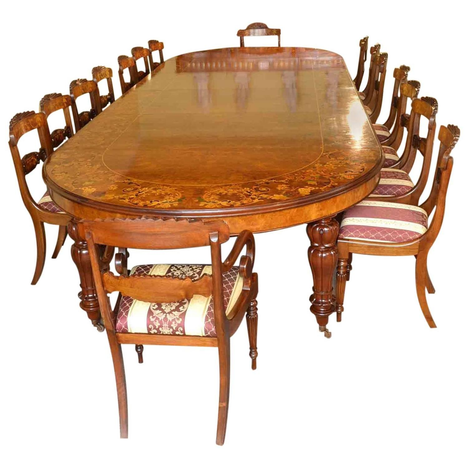 Huge Marquetry Dining Table, 16 Chairs, Extending, Walnut