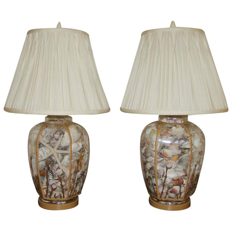 Sea Lamps: Pair Of Sea Shell Filled Glass Table Lamps At 1stdibs