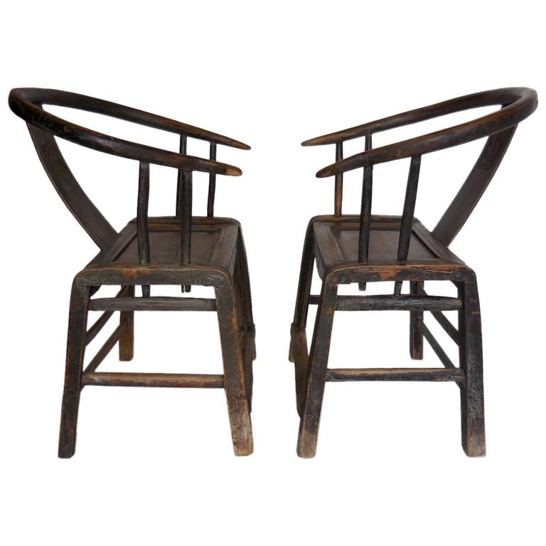 Pair Of 19th Century Chinese Elm Wood Chairs 1