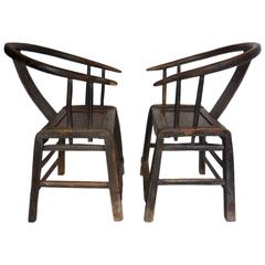 Pair of 19th Century Chinese Elm Wood Chairs