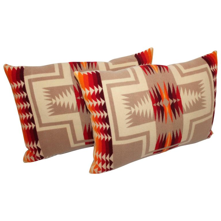 Pair Of Pendleton Indian Design Camp Blanket Pillows At
