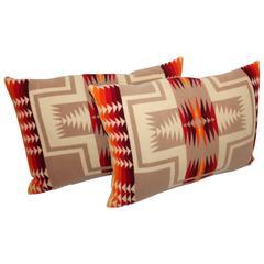 Pair of Pendleton Indian Design Camp Blanket Pillows