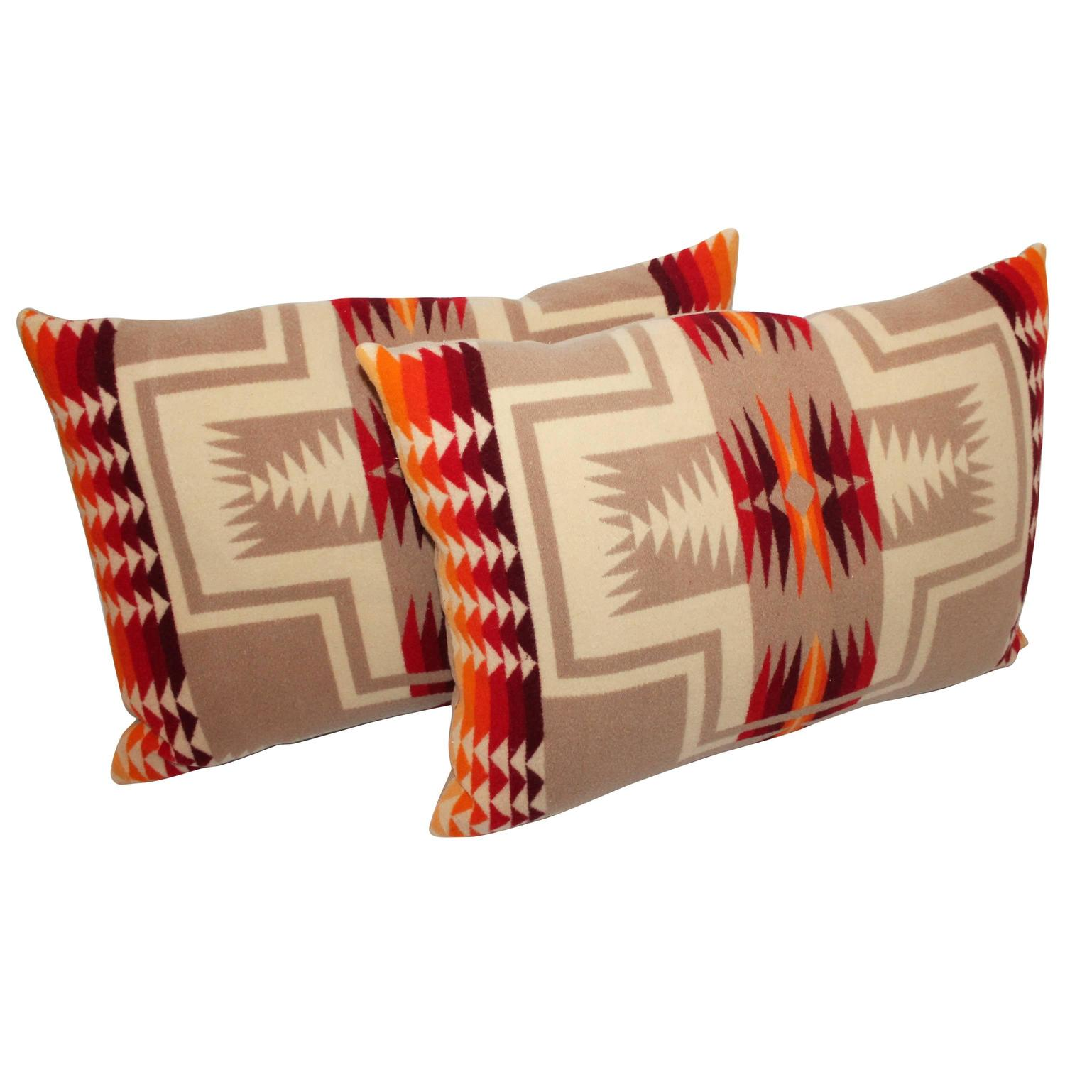 Pair of pendleton indian design camp blanket pillows at for Native american furniture designs