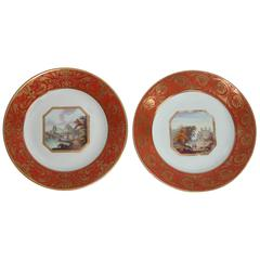 Pair of English Plates Decorated with Scenes of Italy, circa 1796-1814
