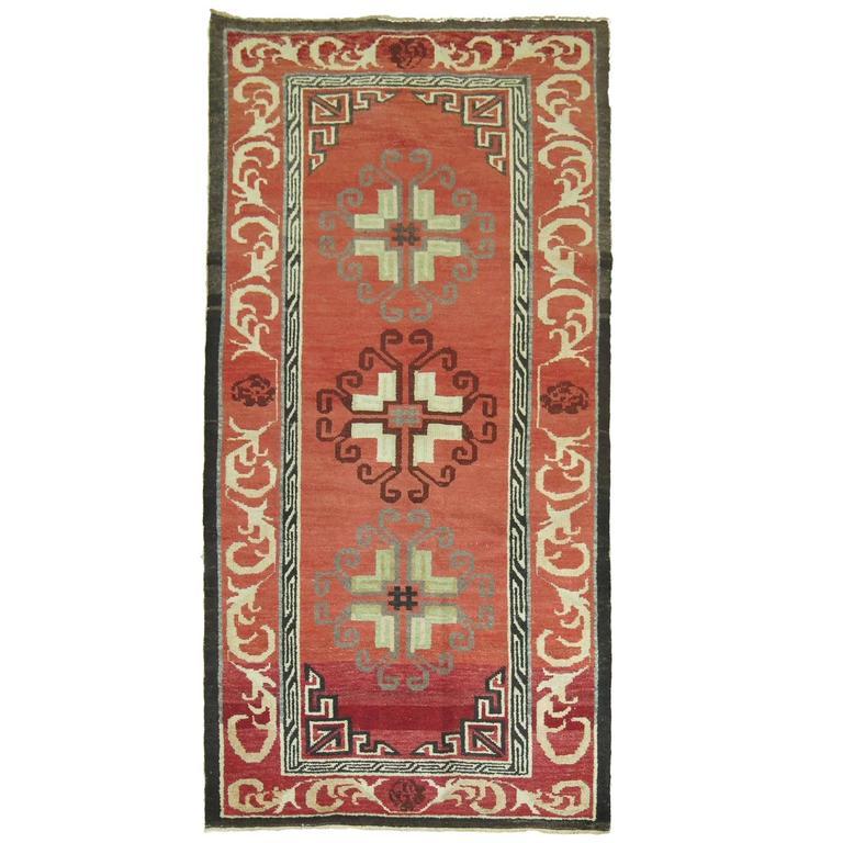 Vintage Turkish Rug Inspired by 19th Century, Asian Khotan Rugs