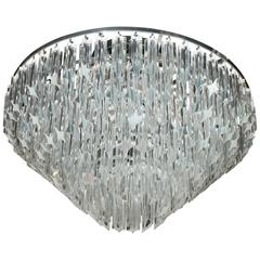 Mid-Century Modernist Six-Tier Camer Crystal Chandelier or Flush Mount