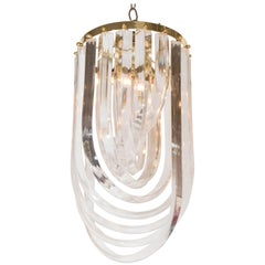 Mid-Century Looped Lucite and Brass Small Chandelier