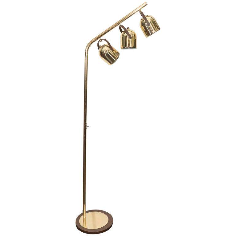 mid century koch and lowy brass floor lamp with three. Black Bedroom Furniture Sets. Home Design Ideas