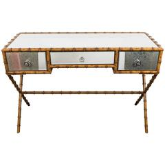 Faux Bamboo Console Table and Desk with Distressed Mirrors