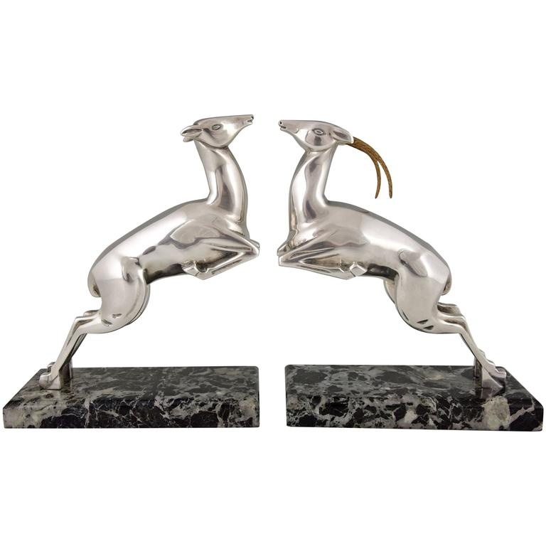Marcel Bouraine French Art Deco Silvered Bronze Deer Bookends, 1930