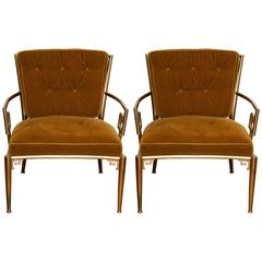 Pair of Jansen-Style Brass Greek Key Armchairs with Velvet Cushions