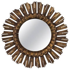 Spanish 1950s Giltwood Sunburst Mirror