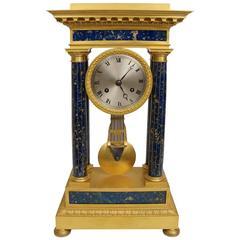Impressive French Empire Gilt Bronze and Lapis Lazuli Mantel Clock