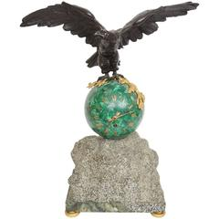 Important Patinated Bronze and Malachite Stone and Marble Mantel Clock