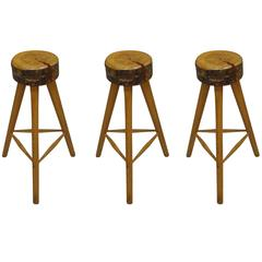 Three French Mid-Century Modern Brutalist Style Wood Bar Stools