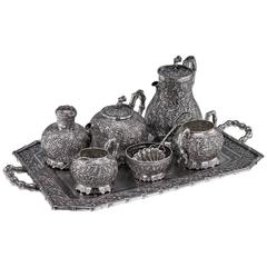 Antique Chinese Export Tu Mao Xing Solid Silver Seven-Piece Tea Set on Tray