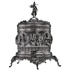 Antique Indian Burmese Solid Silver Massive Sculptural Betel Box, circa 1920