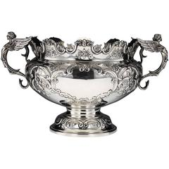 Antique Edwardian Solid Silver Huge Monteith Punch Bowl or Cistern, circa 1908