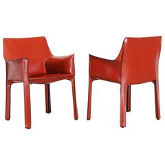 Pair of 413 Cab Chairs by Mario Bellini by Cassina