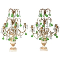 Pair of Italian Girandoles Decorated with Emerald Colored Crystal Drops