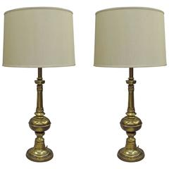 Pair of British Mid-Century Modern Neoclassical Brass Baluster Table Lamps