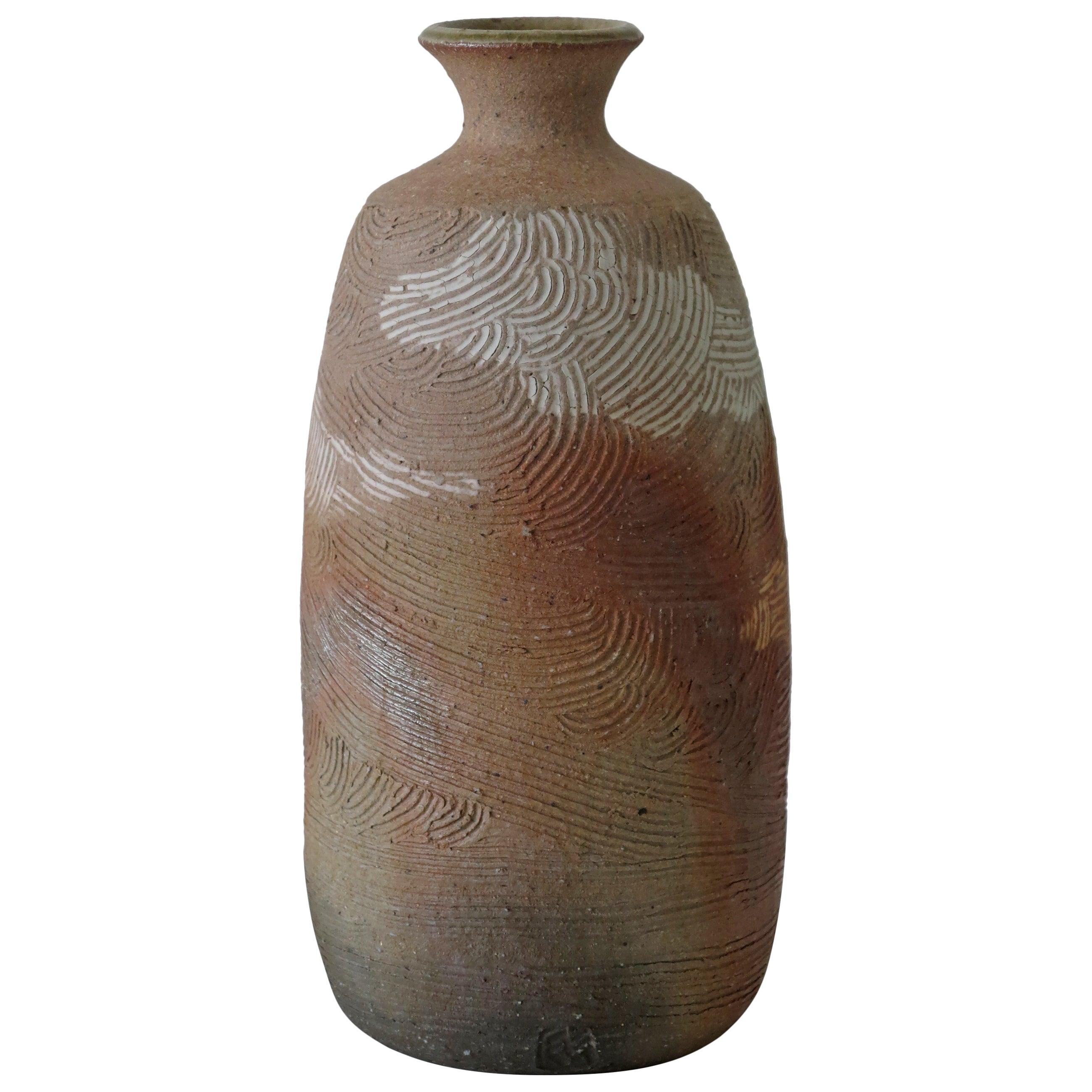 Japanese Incised Art Pottery Vase, Chop Mark