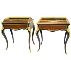 Pair of Bronze Mounted Louis XVI  French Boulle Marquetry Style Planters