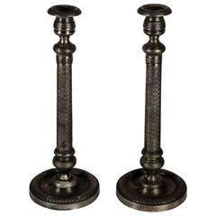 Vintage English Pewter Candlestick
