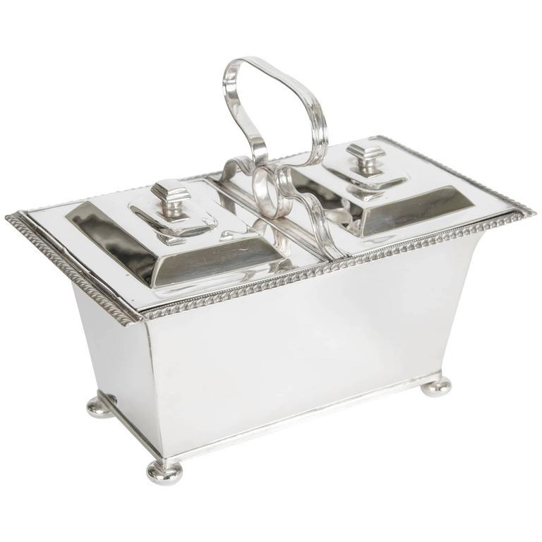 Silver Plate Double Tea Caddy C.1940