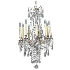 Small French Charles X Period Crystal Chandelier