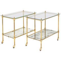 Vintage Art Deco Brass Side Tables or Bar Carts