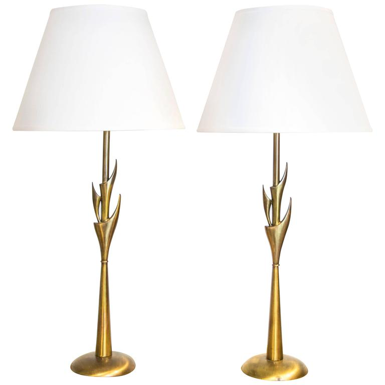 Rembrandt Torchiere Lamps With Antique Brass Finish For Sale