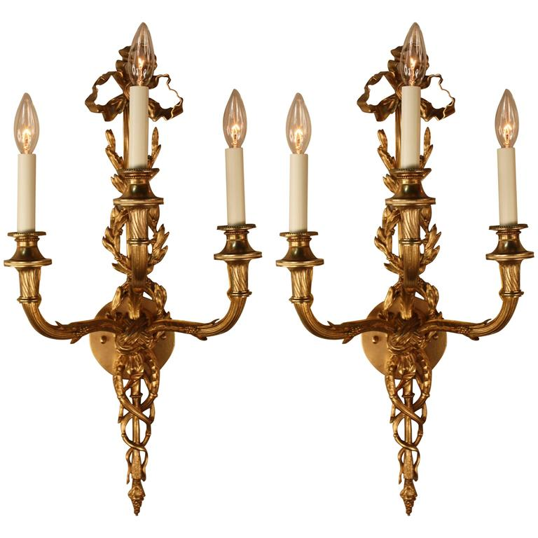French Brass Wall Sconces : Pair of French Empire Bronze Wall Sconces For Sale at 1stdibs