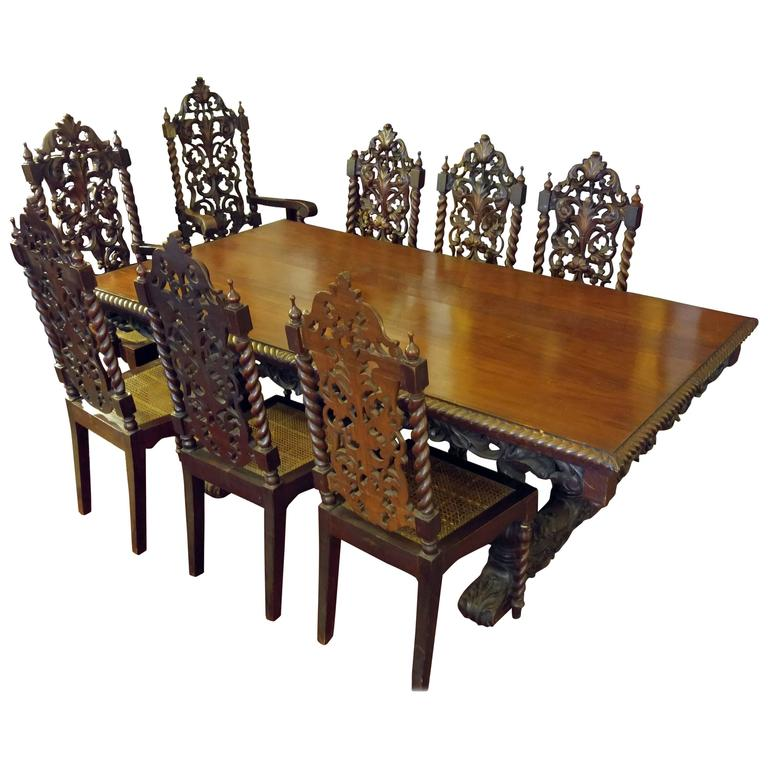 Jacobean Style Dining Table And Eight Chairs Late 19th Early 20th Century