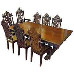 19th Century Jacobean Dining Table and Eight Chairs