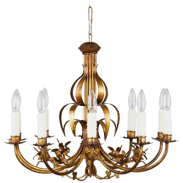 French Gilded Metal Chandelier, circa 1940s