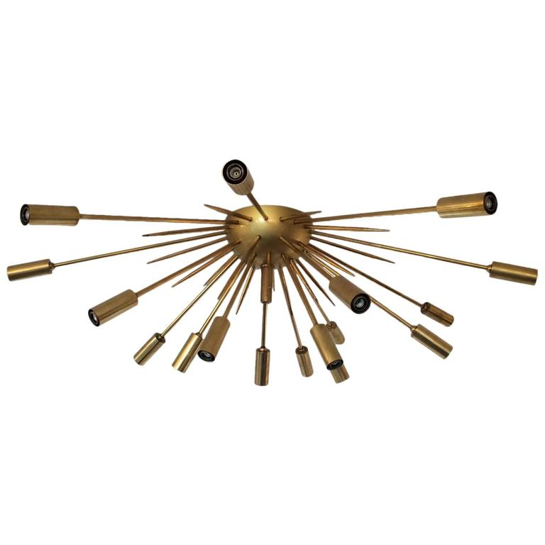 Brass Flush Mount Sputnik by Stilnovo For Sale