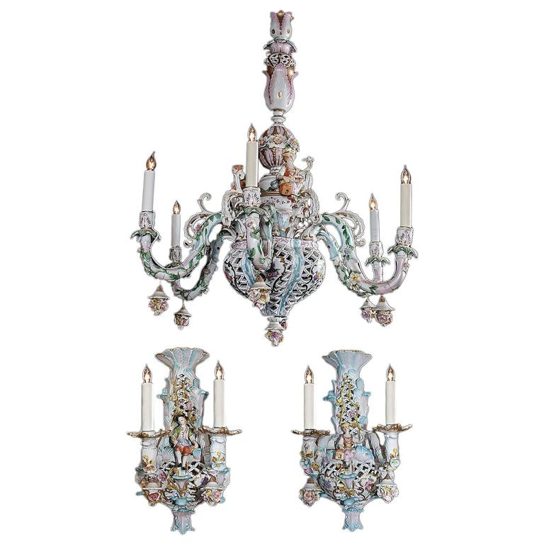 Capodimonte Italian Porcelain Chandelier And Sconces At