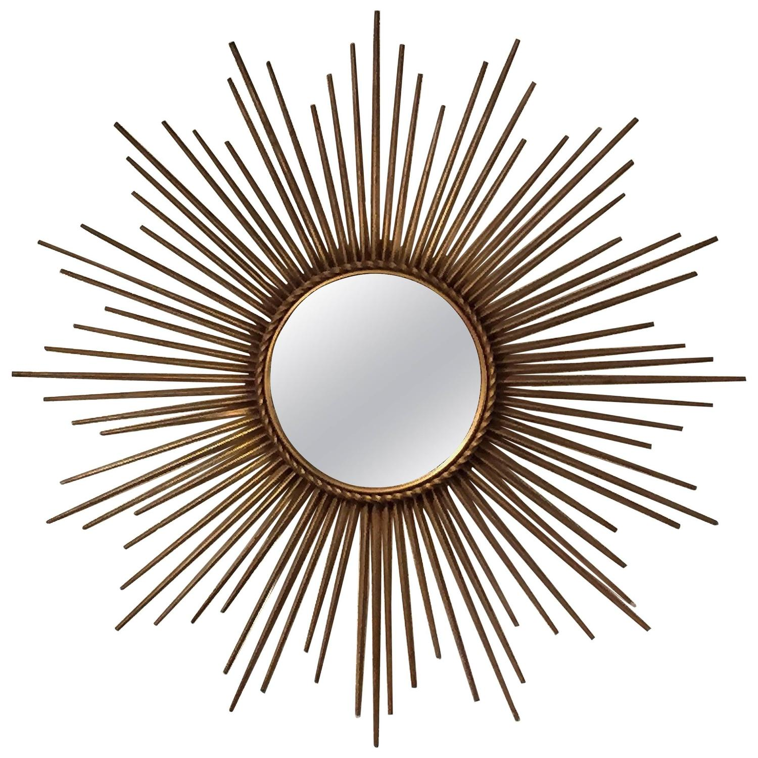 french gilt sunburst or starburst mirror by chaty