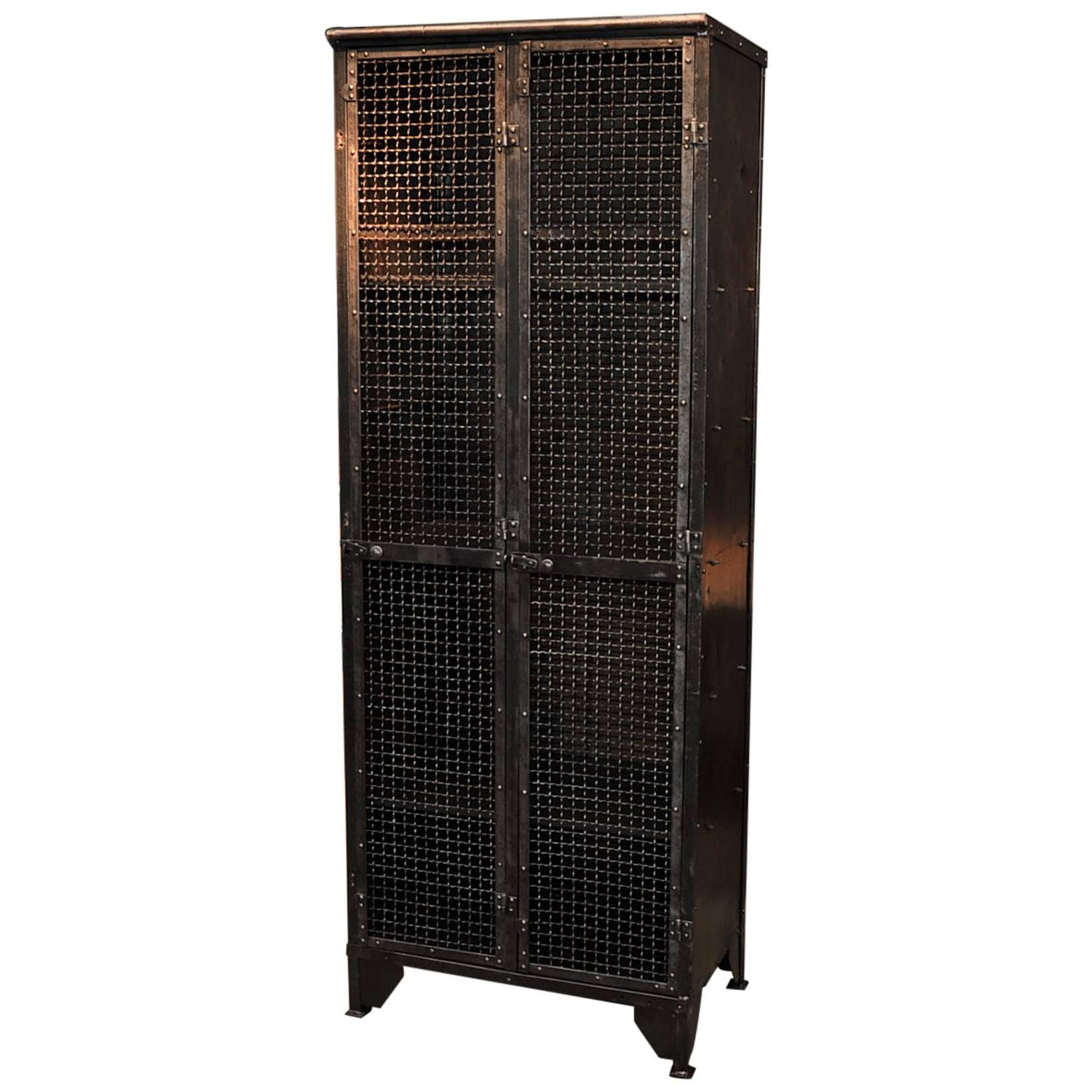 Industrial 1900s French Iron Bookcase Or Cabinet With Two