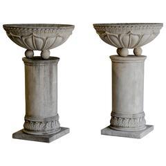 Pair of Circular Basins Atop Columns, Relief Decoration, France