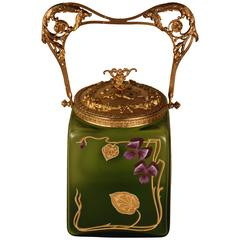 French Art Nouveau Painted Glass Biscuit Jar