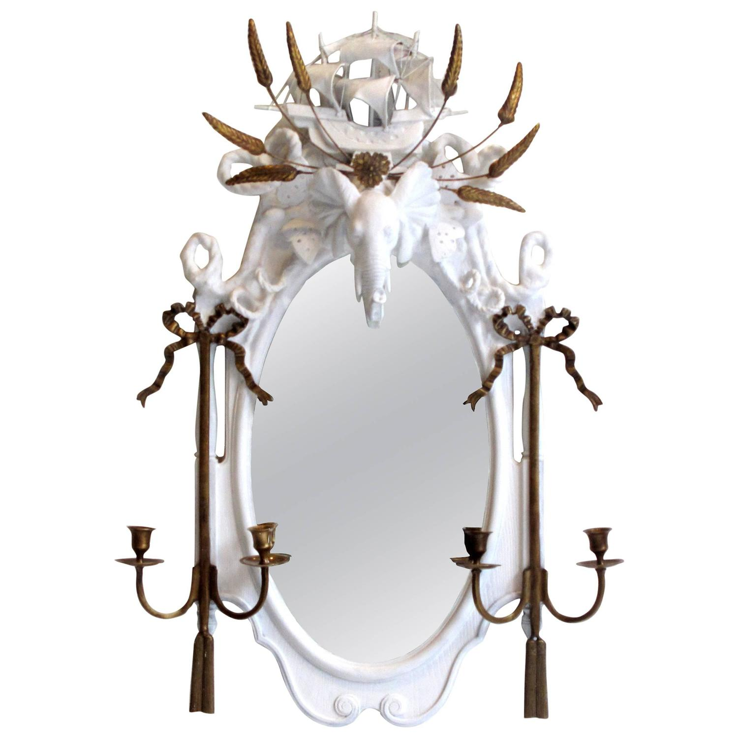 the elephant prince objet trouve plaster mirror for sale at 1stdibs. Black Bedroom Furniture Sets. Home Design Ideas