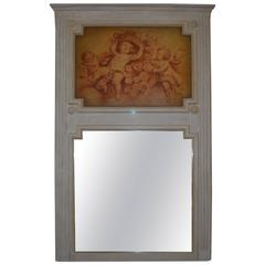Louis XVI Style Painted Trumeau Mirror