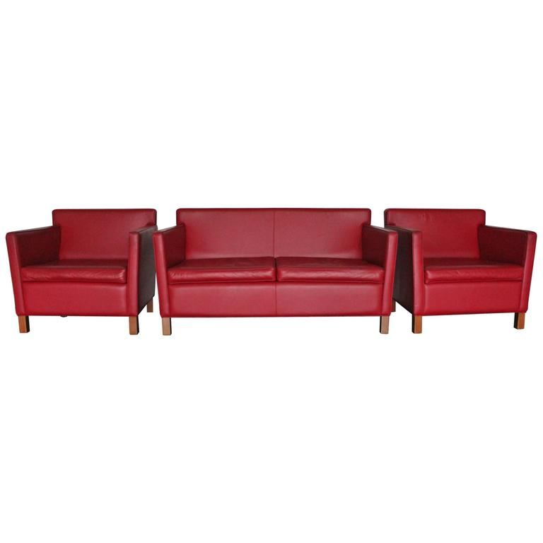 Knoll Studio Krefeld Sofa And Armchairs In Red Leather By Mies Van Der Rohe