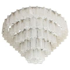 Tiered, Textured Glass Chandelier