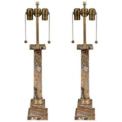Pair of Doric Column Table Lamps in Onyx