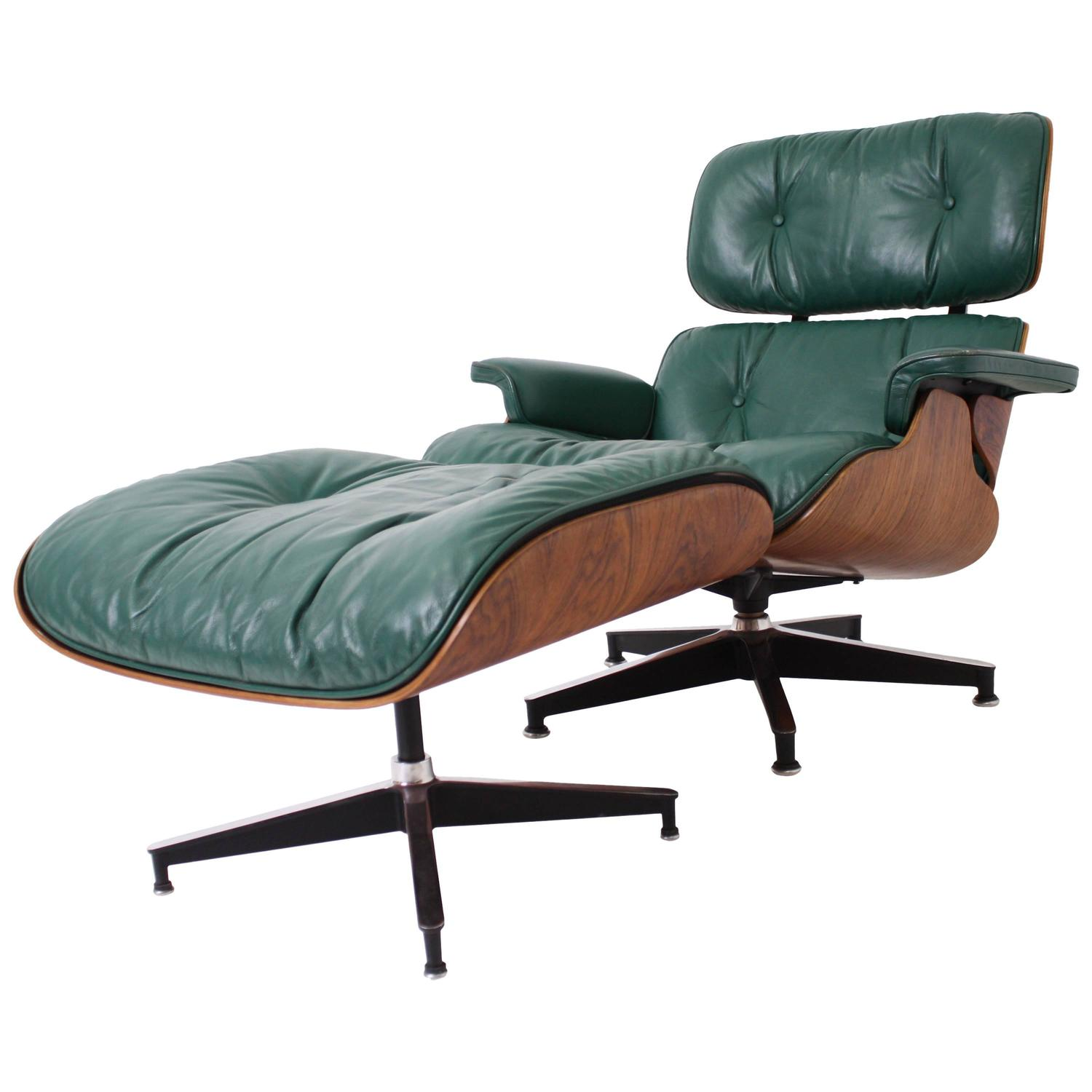 rosewood eames lounge chair and ottoman for herman miller in rare green leather at 1stdibs. Black Bedroom Furniture Sets. Home Design Ideas
